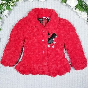 EUC Disney Minnie Mouse red faux fur lined jacket
